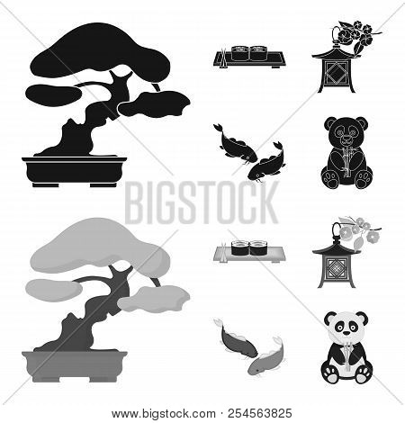 Sushi, Koi Fish, Japanese Lantern, Panda.japan Set Collection Icons In Black, Monochrome Style Vecto