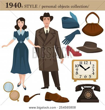 1940 Fashion Style Man And Woman Personal Objects
