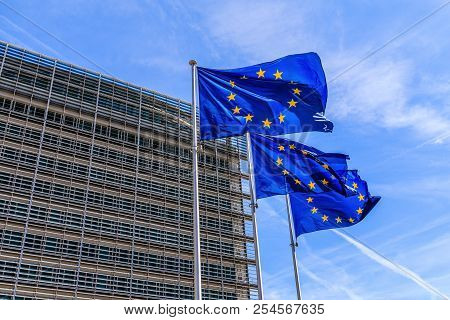Brussels, Belgium - August 11, 2018: Flags Of The European Union In Front Of The Berlaymont Building