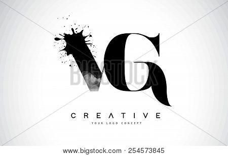 Vg V G Letter Logo Design With Black Ink Watercolor Splash Spill Vector Illustration.