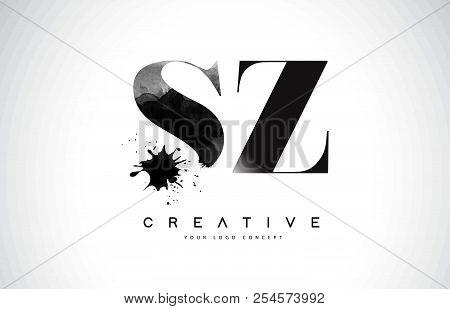 Sz S Z Letter Logo Design With Black Ink Watercolor Splash Spill Vector Illustration.