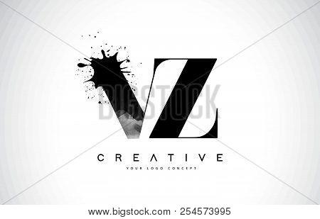 Vz V Z Letter Logo Design With Black Ink Watercolor Splash Spill Vector Illustration.