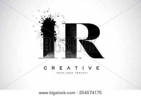 Hr H R Letter Logo Design With Black Ink Watercolor Splash Spill Vector Illustration.