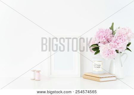 Cute White Blank Frame Mockup. Still Life Composition, Floral Elegant Bouquet Of Pink Peonies In Jug