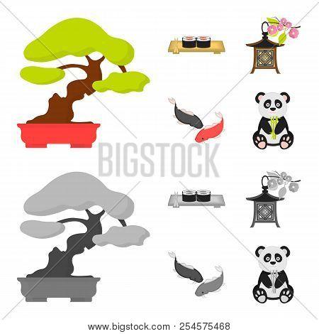 Sushi, Koi Fish, Japanese Lantern, Panda.japan Set Collection Icons In Cartoon, Monochrome Style Vec