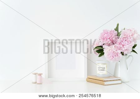 White Square Blank Frame Mockup. Still Life Composition, Floral Elegant Bouquet Of Pink Peonies In J