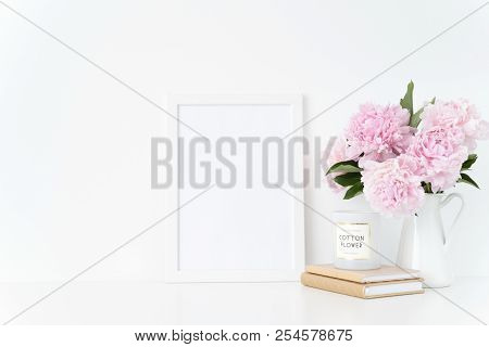 Elegant White Blank Frame Mockup. Still Life Composition, Summer Bouquet Of Pink Peonies In Vase. Ba