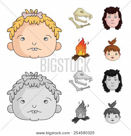 Woman, Hair, Face, Bonfire .stone Age Set Collection Icons In Cartoon, Monochrome Style Vector Symbo