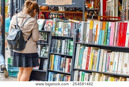 London, Uk - September 1, 2017 - Shelves Of Used Books On Display At A Second Hand Book Shop In Camd