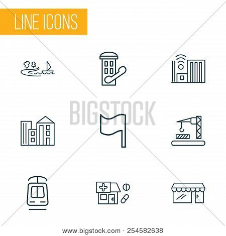 Urban Icons Line Style Set With Tramway, Building, Flag And Other Pennant Elements. Isolated Vector
