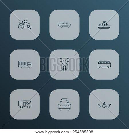 Transport Icons Line Style Set With Campervan, Taxi, Truck And Other Autobus Elements. Isolated Vect