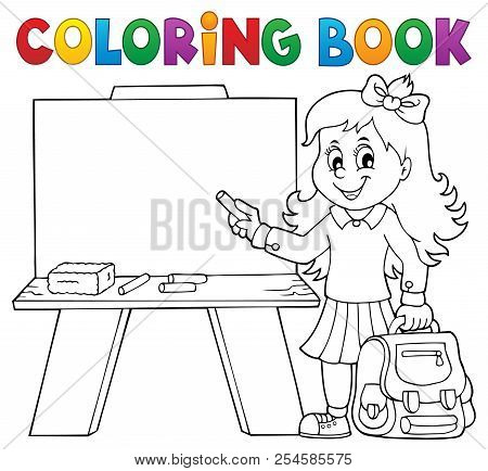 Coloring Book Happy Pupil Girl Theme 4 - Eps10 Vector Picture Illustration.