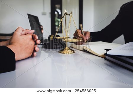 Notary Consultant Concept , Judge Gavel With Client Consult Lawyer Lawsuit Bankruptcy Of Her. Concep