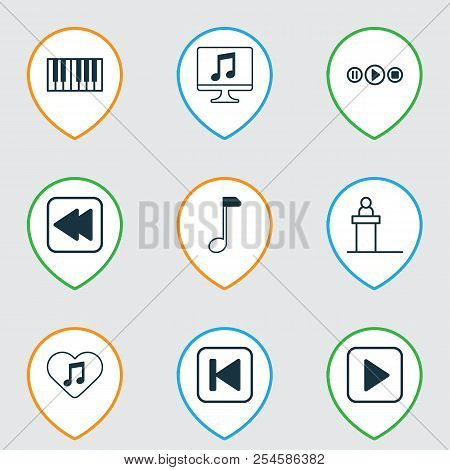 Music Icons Set With Rewind Music Back, Computer, Play Music And Other Loved Melody Elements. Isolat