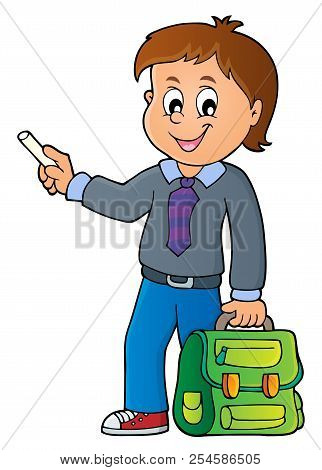 Happy Pupil Boy Theme Image 7 - Eps10 Vector Picture Illustration.