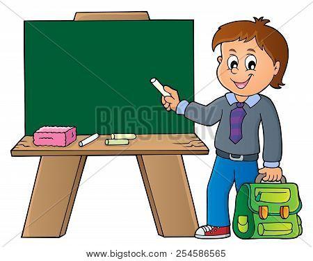 Happy Pupil Boy Theme Image 8 - Eps10 Vector Picture Illustration.