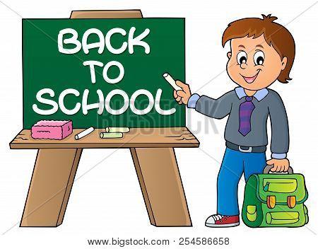 Happy Pupil Boy Theme Image 9 - Eps10 Vector Picture Illustration.