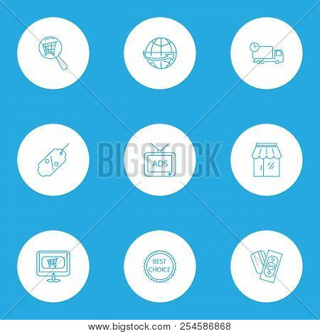 Ecommerce Icons Line Style Set With Best Choice, Discount, Search Shop And Other Currency Elements.