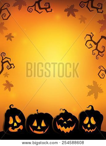 Pumpkin Silhouettes Thematics Image 2 - Eps10 Vector Picture Illustration.