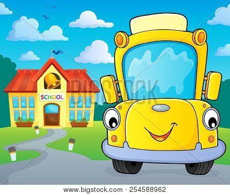 School Bus Thematics Image 5 - Eps10 Vector Picture Illustration.