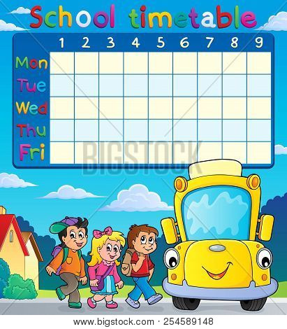 School Timetable With Pupils And Bus - Eps10 Vector Picture Illustration.