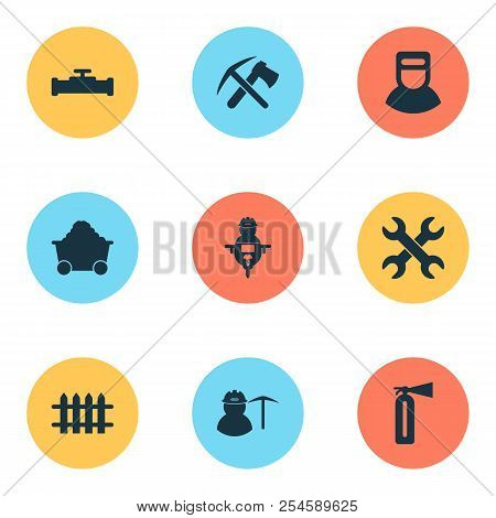 Industry icons set with pipeline with crane, fence, ax with pickax and other workman elements. Isolated  illustration industry icons. poster