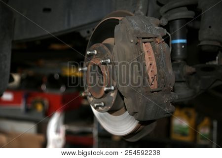 Car Parts. Car Repair. Used car parts isolated on white. brake replace.
