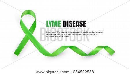Green Lyme Disease Awareness Symbolic Ribbon Isolated On White Background