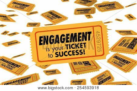 Engagement Ticket to Success Join Interact Participate 3d Illustration