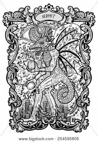 Hermit. Major Arcana Tarot Card. The Magic Gate Deck. Fantasy Engraved Vector Illustration With Occu