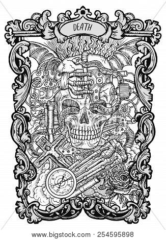 Death. Major Arcana Tarot Card. The Magic Gate Deck. Fantasy Engraved Vector Illustration With Occul