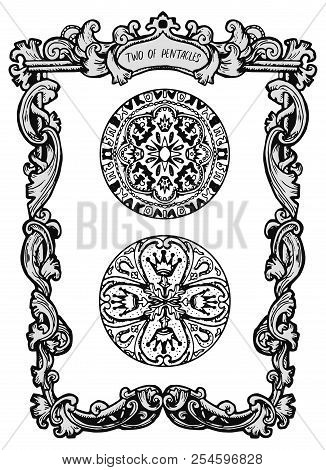 Two Of Pentacles. Minor Arcana Tarot Card. The Magic Gate Deck. Fantasy Engraved Vector Illustration