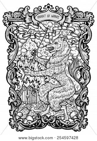 Knight Of Wands. Minor Arcana Tarot Card. The Magic Gate Deck. Fantasy Engraved Vector Illustration