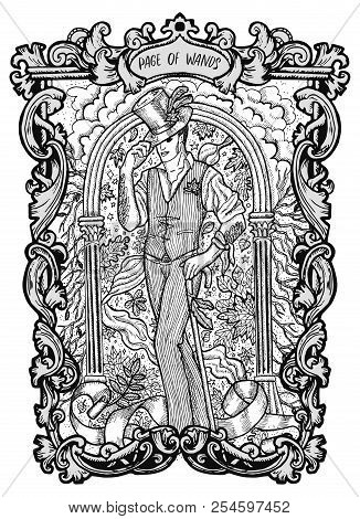 Page Of Wands. Minor Arcana Tarot Card. The Magic Gate Deck. Fantasy Engraved Vector Illustration Wi