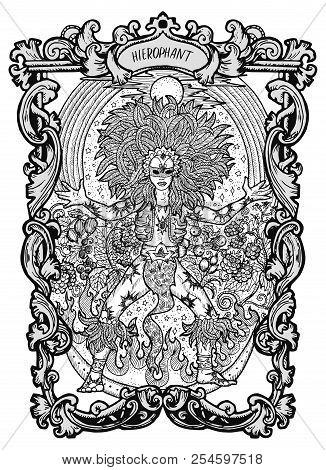 Hierophant. Major Arcana Tarot Card. The Magic Gate Deck. Fantasy Engraved Vector Illustration With