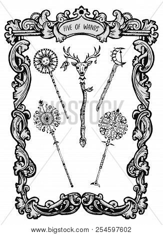Five Of Wands. Minor Arcana Tarot Card. The Magic Gate Deck. Fantasy Engraved Vector Illustration Wi