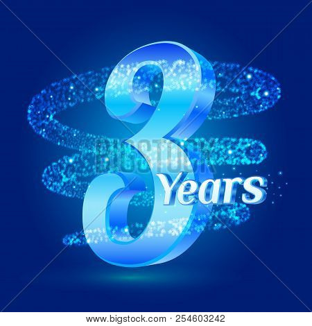 3 Years Shine Anniversary 3d Logo Celebration With Glittering Spiral Star Dust Trail Sparkling Parti