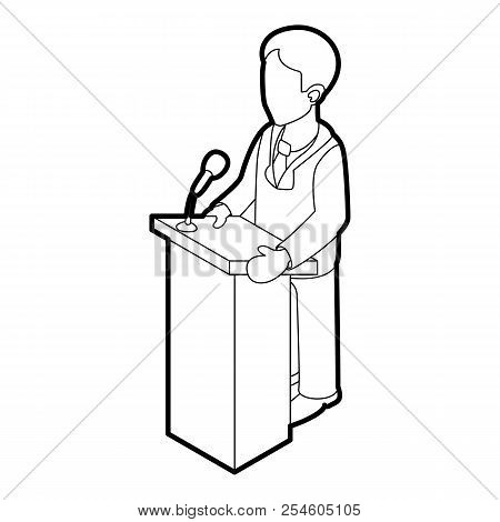 Orator Speaking From Tribune. Outline Illustration Of Orator Speaking From Tribune Icon For Web