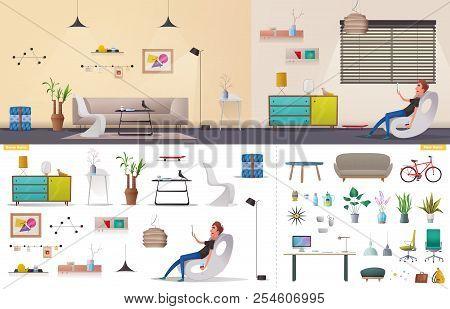 Living Room And Office Interior. Modern Apartment, Scandinavian Or Loft Design. Cartoon Vector Illus