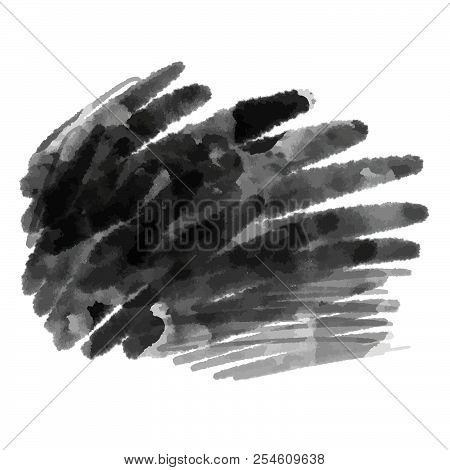 Dark Watercolor Grunge Background. Hand Drawn Vector Element.