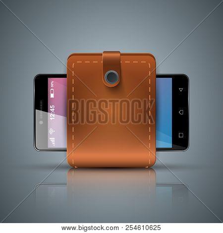 Wallet, Smartphone, Digital Icon Gadjet Vector Eps 10