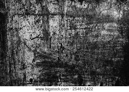 Black And White Texture Of Old Scratched Painted Metal Surface. Dark Grunge Background