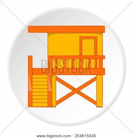 Rescue Booth On Beach Icon. Cartoon Illustration Of Rescue Booth On Beach Icon For Web