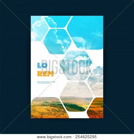 Modern Style Flyer Or Cover Design For Your Business With Mountains And Sky View Image And Honeycomb