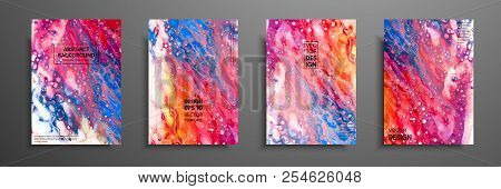 Mixture Of Acrylic Paints. Liquid Marble Texture. Fluid Art. Applicable For Design Cover, Presentati