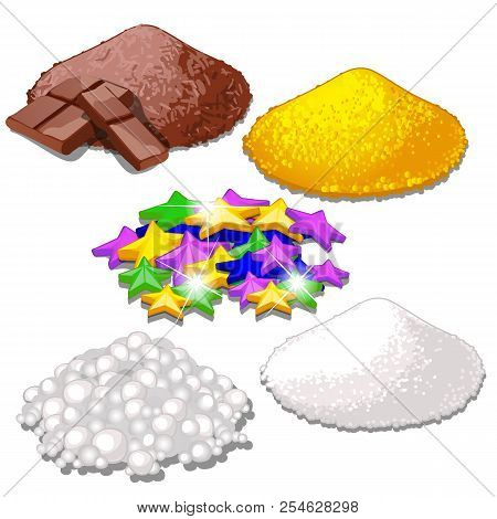 Set Of Handful Of Bright Colorful Food Candy Sprinkles For Festive Desserts Isolated On White. Sampl