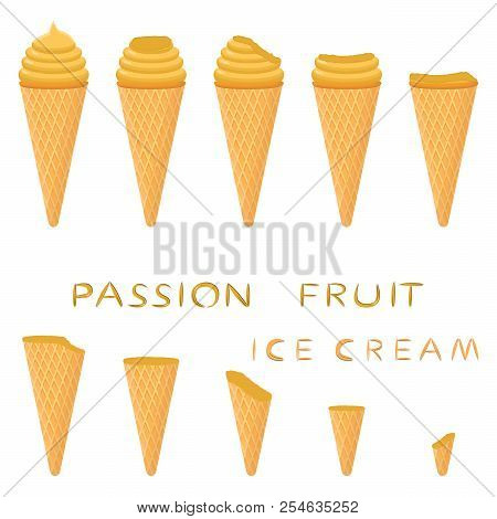 Vector Illustration For Natural Passion Fruit Ice Cream On Waffle Cone. Ice Cream Pattern Consisting