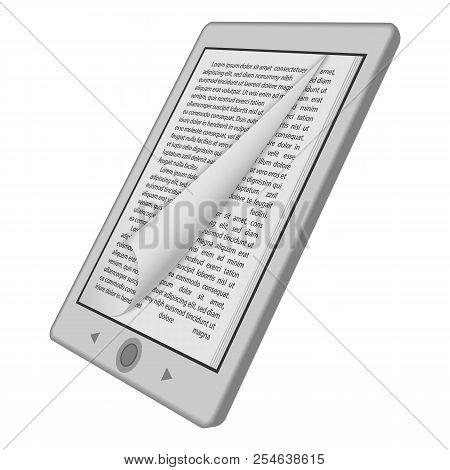Ink Reader Tablet Mockup. Realistic Illustration Of Ink Reader Tablet Mockup For Web Design Isolated