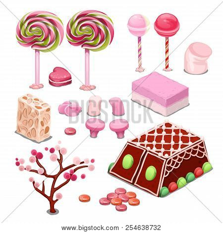 Sweets And Candy Isolated On A White Background. Colorful Confections The Best Gift For The Sweet To