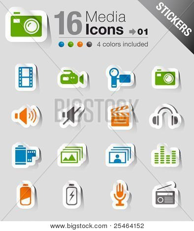 Glossy Stickers - Media Icons